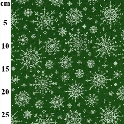 Christmas Cotton White Snowflakes On Green