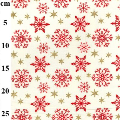 Christmas Cotton Snowflakes And Stars On Cream Metallic