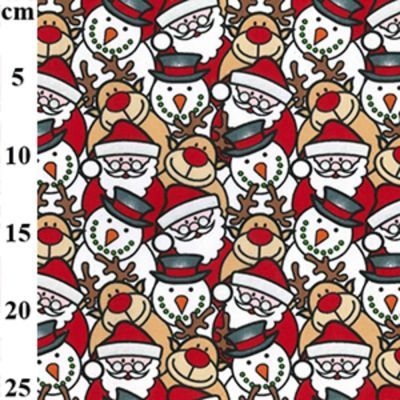 Polycotton - Packed Santas And Reindeer