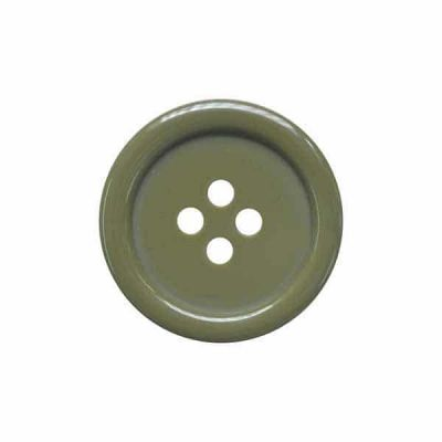 4 Hole Round Coat / Clothing Button - Olive - 18mm / 28L