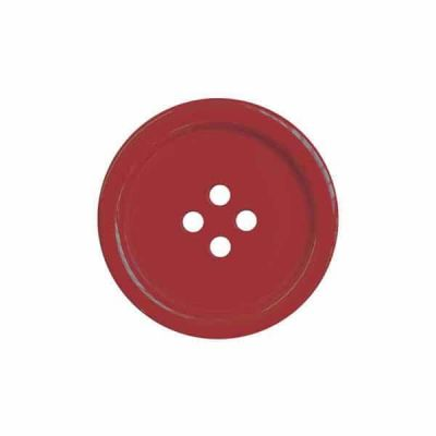 4 Hole Round Coat / Clothing Button - Red - 25mm / 40L