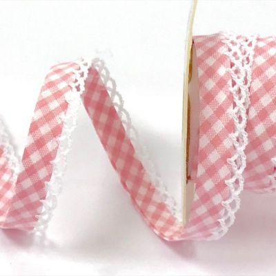 Byesta Fany Lace Edge Gingham Bias Binding - Pink - 12mm Wide