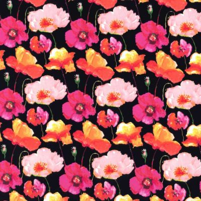 Stretch Cotton Fabric - Pink Poppies On Navy