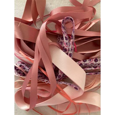 Remnant - Pink Tones Ribbon Trims (colours as image) -  10 metres approx