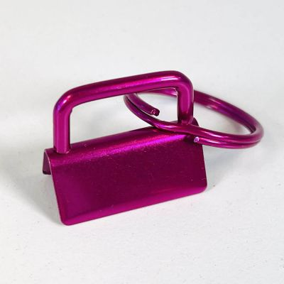 Key Ring - Metal Key Fob Hardware Clasp With Split Ring - 25mm - Cerise Colour