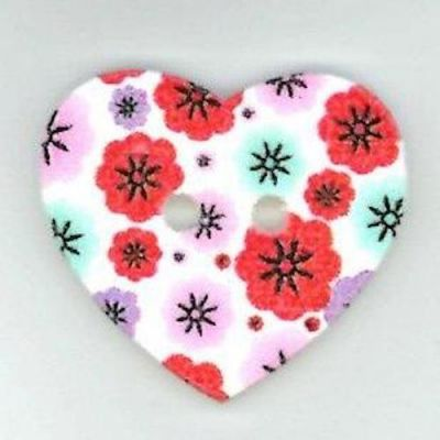 Heart Shaped Pink Floral Wooden Button 2 Hole 25mm