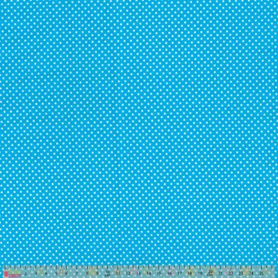Polycotton - Pinspot On Turquoise