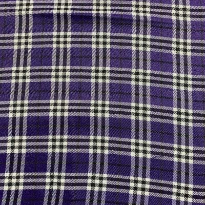 Polyester Viscose Tartan Fabric - Purple Black And White