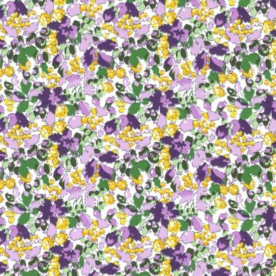 Regency Cotton Lawn Fabric - Purple & Yellow Floral