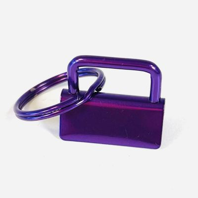 Key Ring - Metal Key Fob Hardware Clasp With Split Ring - 25mm - Purple Colour