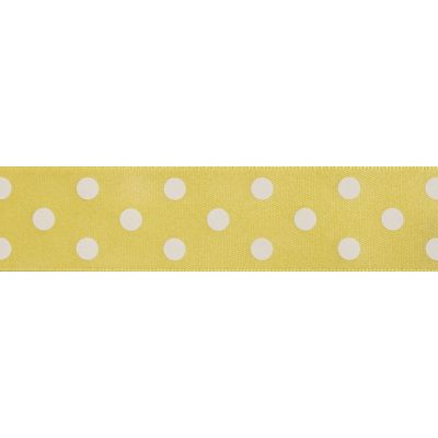 Berisfords - Polka Dot Ribbon - Lemon - 2 Widths