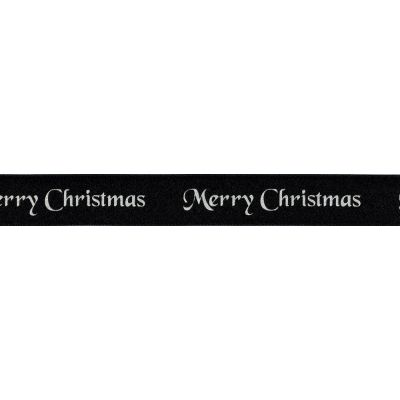 Berisfords Merry Christmas Ribbon - 10mm Wide - Black