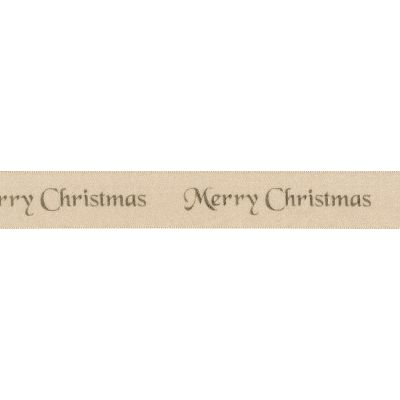 Berisfords Merry Christmas Ribbon - 10mm Wide - Cream