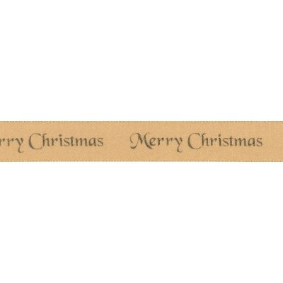Berisfords Merry Christmas Ribbon - 10mm Wide - Gold