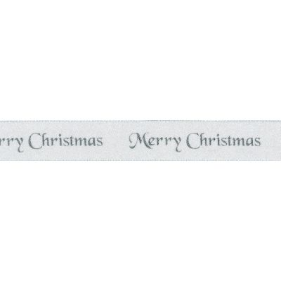 Berisfords Merry Christmas Ribbon - 10mm Wide - White