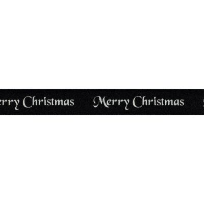 Berisfords Merry Christmas Ribbon - 25mm Wide - Black