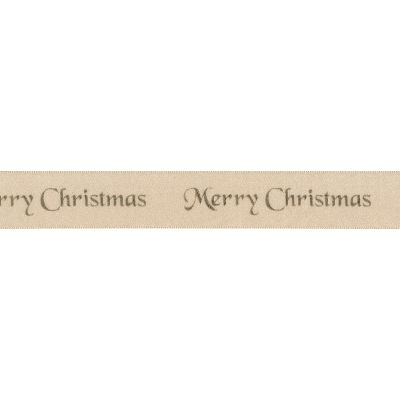 Berisfords Merry Christmas Ribbon - 25mm Wide - Cream