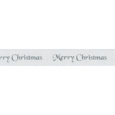 Berisfords Merry Christmas Ribbon - 25mm Wide - White