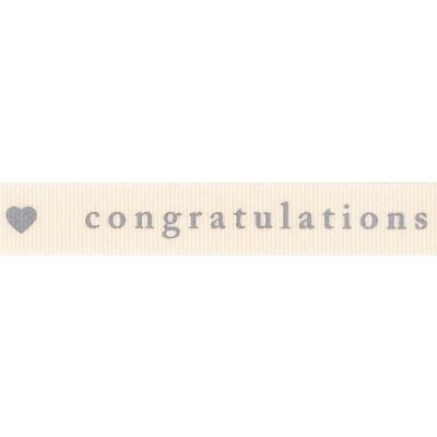Berisfords 15mm Congratulations Natural / Grey Ribbon 4m Reel