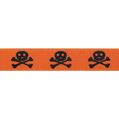 Berisfords - Skull And Cross Bones Ribbon Black On Orange - 15mm Wide