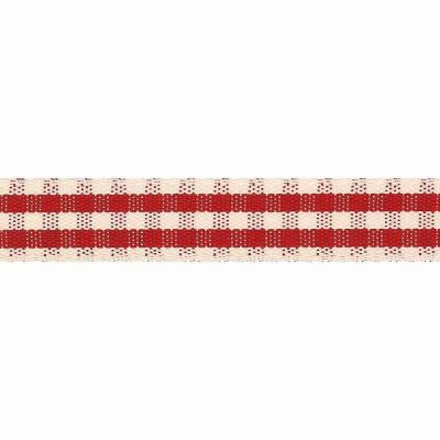 Natural Rustic Gingham Ribbon 15mm Red