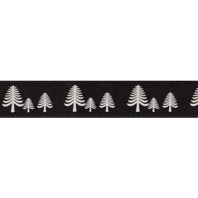 Berisfords 15mm Festive Forest Graphite Ribbon 4m Reel