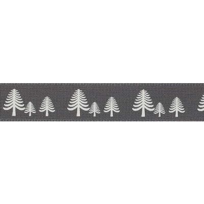 Berisfords 15mm Festive Forest Smoked Grey Ribbon 4m Reel