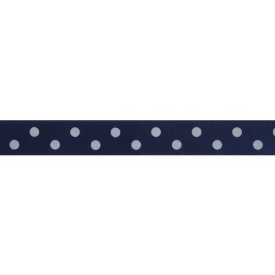 15mm Navy Polka Dot Ribbon 5m Reel