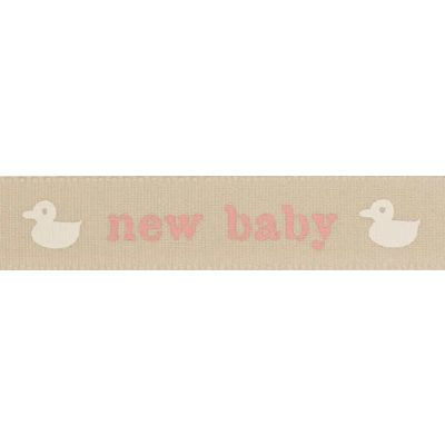 Berisfords 15mm Pink New Baby With Ducks Ribbon 4m Reel