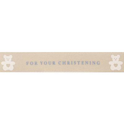 Berisfords 15mm For Your Christening Blue Ribbon 4m Reel