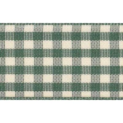 10mm Natural Gingham Green Ribbon 4m Reel