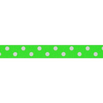 Berisfords - Spotty Ribbon - Fluorescent Green - 2 Widths