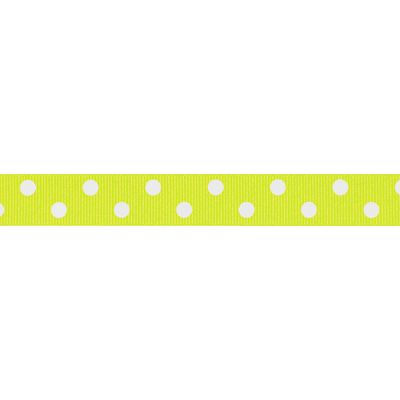 Berisfords - Spotty Ribbon - Fluorescent Yellow - 2 Widths
