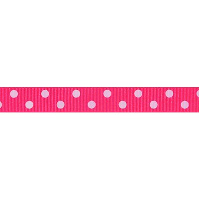 Berisfords - Spotty Ribbon - Fluorescent Pink - 2 Widths