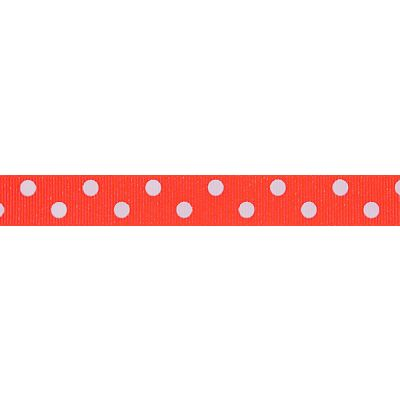 Berisfords - Spotty Ribbon - Fluorescent Orange - 2 Widths