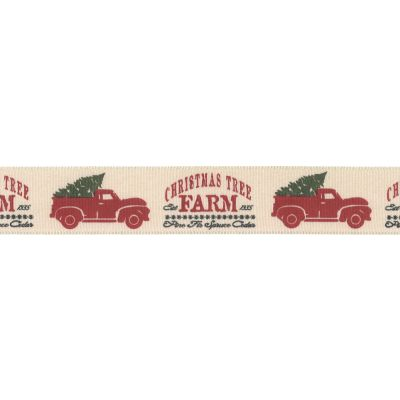 Berisfords Christmas Tree Farm Truck - Taffeta Christmas Ribbon 25mm Wide