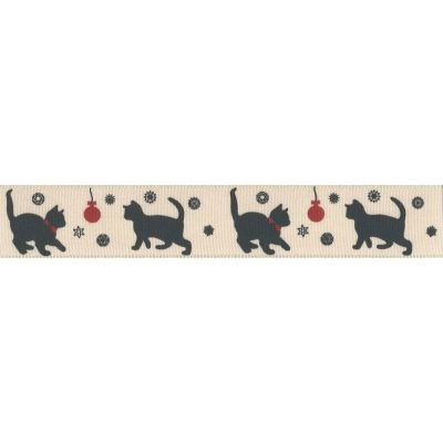 Berisfords Christmas Ribbon - Black Cat On Pumice - 15mm & 25mm Wide