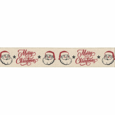 Berisfords Jolly Santa Merry Christmas Ribbon 25mm Wide - Pumice