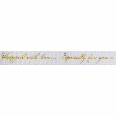 Berisfords Ribbon - Sparkle With Love - 16mm Wide - White / Gold