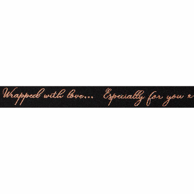 Berisfords Ribbon - Sparkle With Love - 16mm Wide - Black / Rose Gold