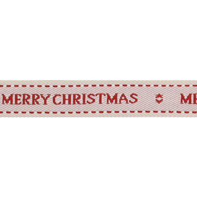 Berisfords 15mm Christmas Wishes On Natural Ribbon 4m Reel