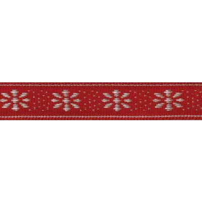 Berisfords 15mm Winter Flower Red / Ivory Ribbon 4m Reel