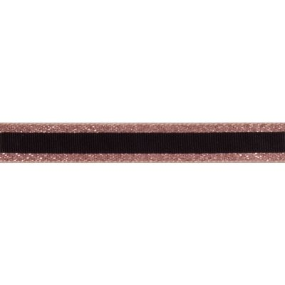 Berisfords Essentials Metallic Winter Stripe Christmas Ribbon - 15mm Wide - Rose Gold