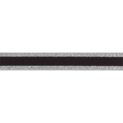 Berisfords Essentials Metallic Winter Stripe Christmas Ribbon - 15mm Wide - Silver
