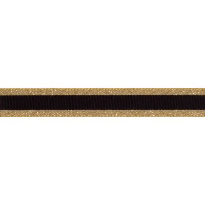 Berisfords Essentials Metallic Winter Stripe Christmas Ribbon - 15mm Wide - Dark Gold