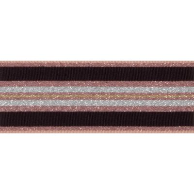 Berisfords Essentials Metallic Winter Stripe Christmas Ribbon - 25mm Wide - Rose Gold
