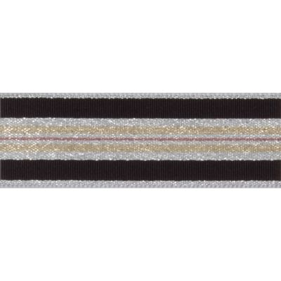 Berisfords Essentials Metallic Winter Stripe Christmas Ribbon - 25mm Wide - Silver