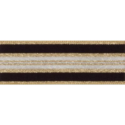 Berisfords Essentials Metallic Winter Stripe Christmas Ribbon - 25mm Wide - Dark Gold