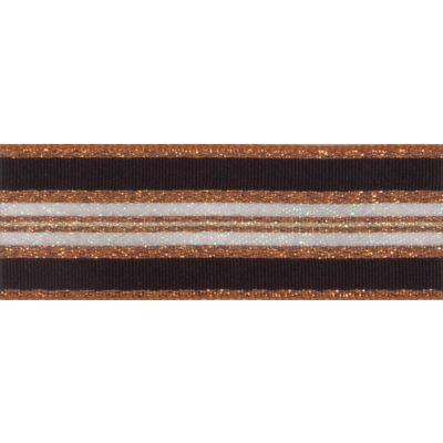 Berisfords Essentials Metallic Winter Stripe Christmas Ribbon - 25mm Wide - Copper