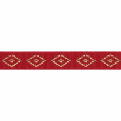 Berisfords Essentials Metallic Diamond Christmas Ribbon - 15mm Wide - Red